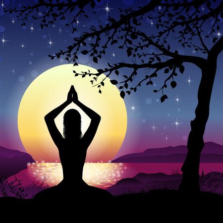 paz interior: Silueta de la meditación con la naturaleza y el Sol sobre fondo Transparencia efectos de mezcla y el gradiente de malla-10 EPS. Vectores