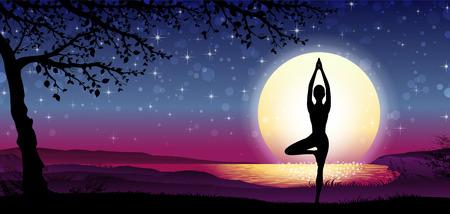 自然と背景透明ブレンディング効果、グラデーション メッシュ EPS 10 日バナー縦シルエット瞑想。