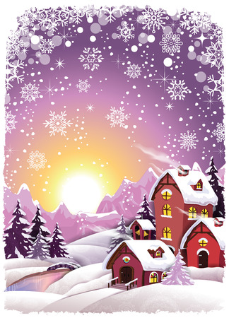 Mountain cottage snowy at Christmas-Transparency blending effects and gradient mesh-EPS 10