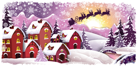 サンタ クロースとそり透明ブレンディング効果とグラデーション メッシュ EPS 10 クリスマス風景を雪に覆われた山のコテージ