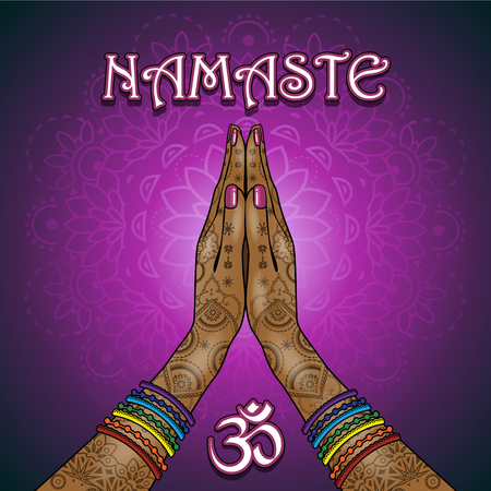 Hands decorated greeting position namaste-transparency blending effects and gradient mesh-EPS 10.