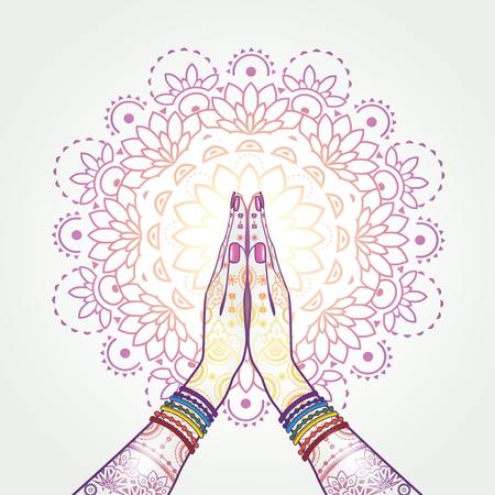 position d amour: Mains position de voeux décorée effets mélange namaste-transparence et maillé EPS 10 gradient.