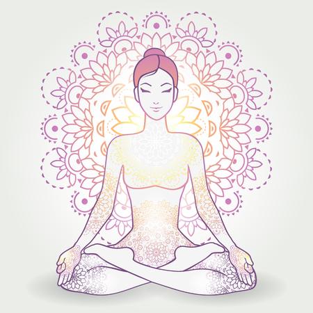 kundalini: Yoga Asana Padmasana, Lotus Position, With Decoration-transparency blending effects and gradient mesh-EPS 10.