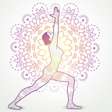 centers: Yoga Asana Virabhadrasana I With Decoration-transparency blending effects and gradient mesh-EPS 10. Illustration