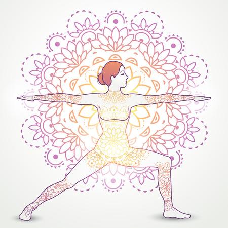 chakra energy: Yoga Asana Virabhadrasana II With Decoration-transparency blending effects and gradient mesh-EPS 10. Illustration