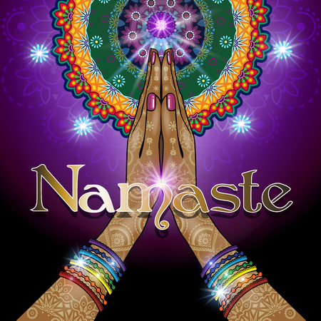 Hands decorated greeting position namaste-transparency blending effects and gradient mesh-EPS 10.The text can be removed Illustration