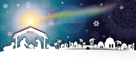神聖な家族風景透明ブレンディング効果とグラデーション メッシュ EPS10 キリスト降誕のシーン。