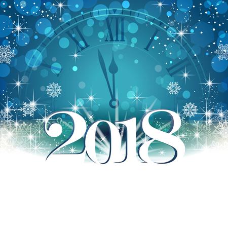 時計、雪片透明ブレンディング効果とグラデーション メッシュ EPS 10 青色の背景に白い新しい年。