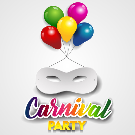 White Carnival Mask With Colorful Balloons-Transparency Blending Effects and Gradient Mesh.