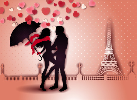 Silhouette Couple With Umbrella and Tour Eiffel-transparency blending effects and gradient mesh.