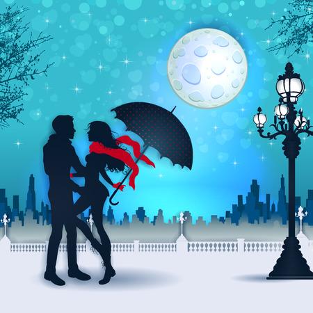 傘と都市の風景の透明度のブレンド効果とグラデーションメッシュを持つシルエットカップル