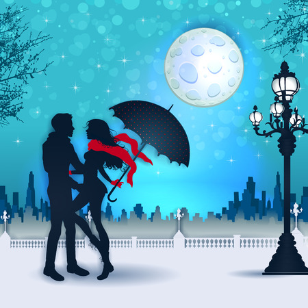 Silhouette Couple With Umbrella and City Landscape-transparency blending effects and gradient mesh