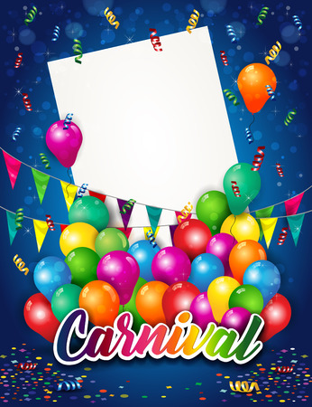 Banner Carnival With Lettering And Balloon a Blue Background And Ticket Where to Insert Your Own Text-Transparency Blending Effects and Gradient Mesh
