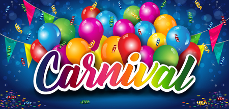 Banner Carnival With Lettering And Balloon a Blue Background-Transparency Blending Effects and Gradient Mesh