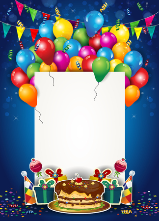 誕生日のチケットを持つ風船と紙吹雪 あなた自身のテキスト透明度のブレンド効果とグラデーションメッシュ-EPS 10を挿入する場所