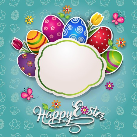 Easter Card With Eggs and Flowers With Space to Insert Your own Text-transparency blending effects and gradient mesh-EPS 10. Vector illustration. 写真素材 - 97338161