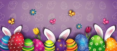 Banner Happy Easter With Eggs And Rabbit Ears-transparency blending effects and gradient mesh-EPS 10  イラスト・ベクター素材