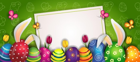 Happy Easter With Eggs And Rabbit Ears-with space to insert your text-transparency blending effects and gradient mesh