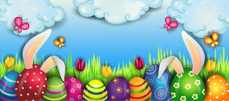Happy Easter With Eggs And Rabbit Ears With Clouds on Blue Sky-With Space to Insert Your Text.  イラスト・ベクター素材
