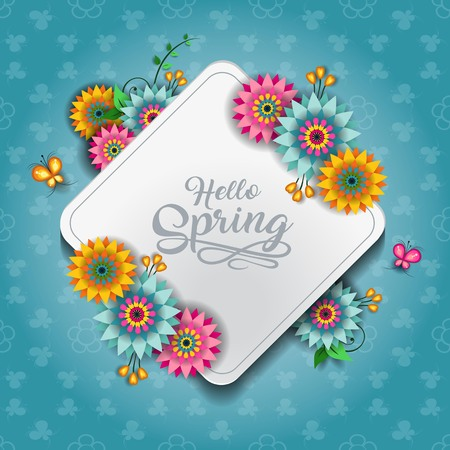 Happy Spring Label With Butterflies-Editable-With Space to Insert Your own Text-transparency blending effects and gradient mesh-