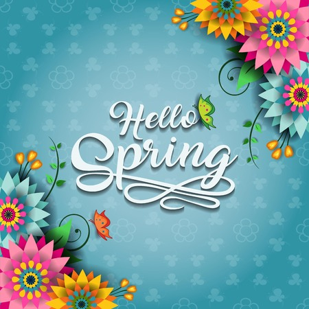 Happy Spring Label With Butterflies-Editable-With Space to Insert Your own Text-transparency blending effects and gradient 写真素材 - 98661905