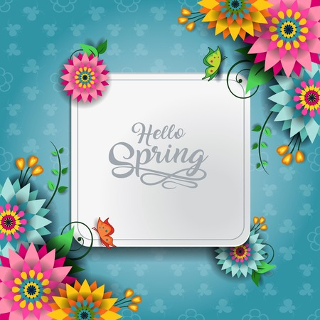 Happy Spring Label With Butterflies-Editable-With Space to Insert Your own Text-transparency blending effects and gradient