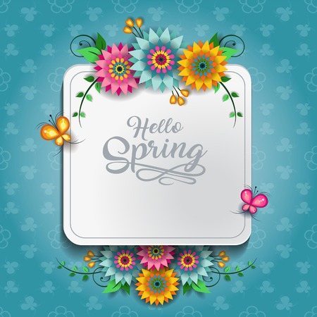 Happy Spring Label With Butterflies-Editable-With Space to Insert Your own Text-transparency blending effects and gradient mesh-EPS 10