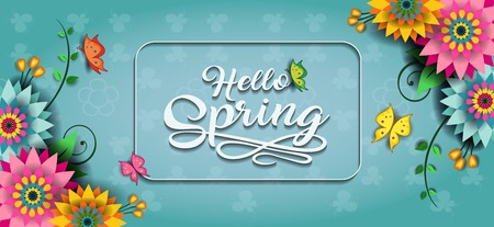 Happy Spring Label With Butterflies-Editable-transparency blending effects and gradient mesh-EPS 10