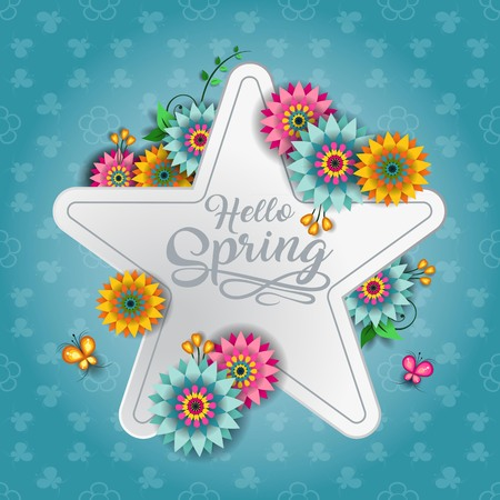 Happy Spring Label With Butterflies-Editable-With Space to Insert Your own Text-transparency blending effects and gradient mesh- 写真素材 - 98341018