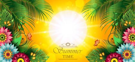 Étiquette Happy Summer avec des fleurs - modifiable L'écriture peut être supprimée - avec un espace pour insérer vos propres effets de mélange de transparence du texte et dégradé mesh-EPS 10
