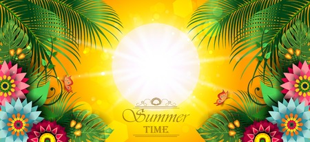 Happy Summer Label With Flowers-Editable The Writing can be Removed-With Space to Insert Your own Text-transparency blending effects and gradient mesh-EPS 10