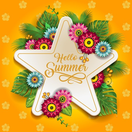 Happy Summer Label With Flowers