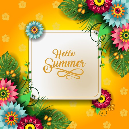 Happy Summer Label With Flowers-Editable The Writing can be Removed-With Space to Insert Your own Text-transparency blending effects and gradient mesh-EPS 10 写真素材 - 98694241