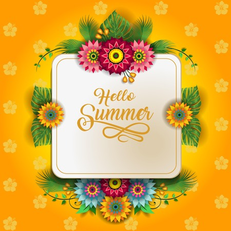 Happy Summer Label With Flowers-Editable The Writing can be Removed-With Space to Insert Your own Text-transparency blending effects and gradient mesh-EPS 1