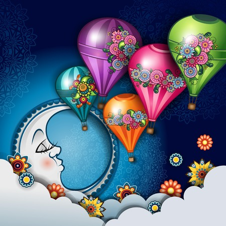 Moon Sleeping In The Clouds And Hot Air Balloons-Transparency blending effects and gradient mesh Foto de archivo - 99855089