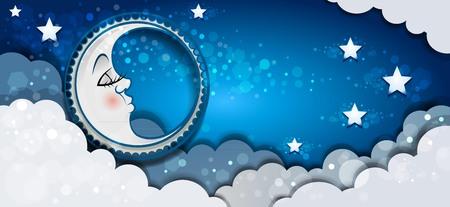 Bannière lune dormant dans les nuages et les étoiles - effets de mélange de transparence et filet de dégradé