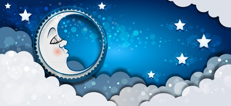 Banner Moon Sleeping In The Clouds And Stars-transparency blending effects and gradient mesh Illustration