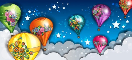 Banner Hot-Air Balloons Flying In The Clouds--transparency blending effects and gradient mesh Фото со стока - 99855092