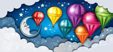 Banner Moon Sleeping In The Clouds And Hot Air Balloons-Transparency blending effects and gradient mesh
