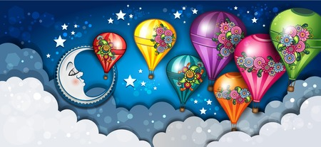 Banner Moon and Hot Air Balloons Floral-Transparency blending effects and gradient meshEPS 10