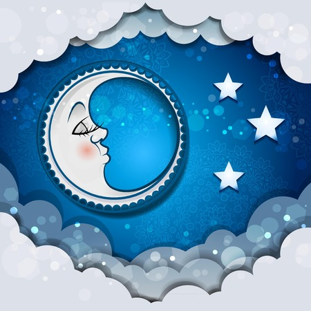 Moon sleeping in the clouds and stars, transparency blending effects and gradient mesh.  イラスト・ベクター素材
