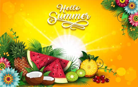 Fruits Summer Tropical-Editable-The Writing can be Removed-With Space to Insert Your own Text-transparency blending effects and gradient mesh-EPS 10