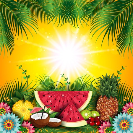 Fruits Summer Tropical-Editable-With Space to Insert Your own Text-transparency blending effects and gradient mesh-EPS 10 写真素材 - 104067956