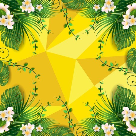 Happy Summer Label With Palms and Flowers-Editable-With Space to Insert Your own Text-transparency blending effects and gradient mesh-EPS 10