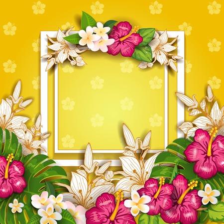 Étiquette Happy Summer avec fleurs-avec espace pour insérer vos propres effets de mélange de transparence de texte et filet de dégradé-EPS 10