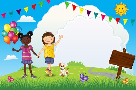 Happy Little Girls With Balloons Outdoors - Editable - With Space to Insert Your Own Text - EPS 10 写真素材 - 105301265