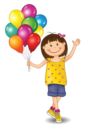 Little Girl With Balloons on White Background - Editable - With Space to Insert Your Own Text - EPS 10 写真素材 - 105301266