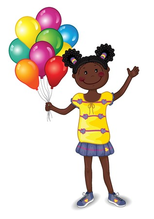Little Girl With Balloons on white background - Editable - With Space to Insert Your Own Text - EPS 10 写真素材 - 105301267