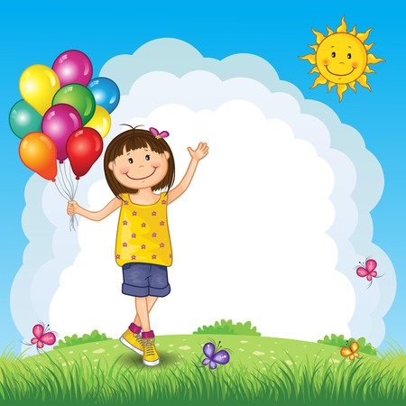 Little Girl With Balloons on Landscape - Editable - With Space to Insert Your Own Text - EPS 10