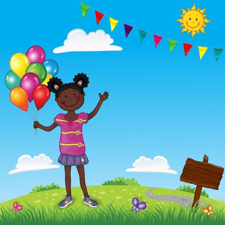Little Girl With Colorful Balloons On Landscape - Editable - With Space to Insert Your Own Text - EPS 10  イラスト・ベクター素材